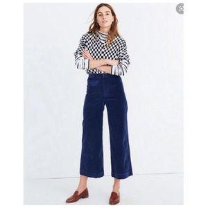 Madewell Emmet Wide Leg Crop Pants in Velveteen
